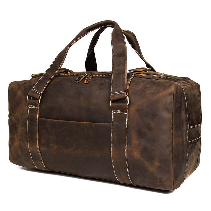 J.M.D Crazy Horse Genuine Leather Travel Bag Men Vintage Travel Duffel Bag Big Cow Leather Carry On Luggage Weekend Large  6008R