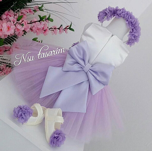 2017 purple Crew neck flower dress satinzipper back ball gown with pleats kids girl birthday dresses with bow sash charter club new purple cashmere crew neck sweater msrp $129 00