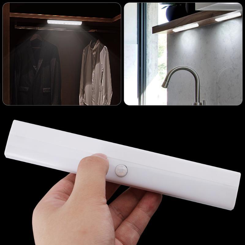 10 LED Under Cabinet Light PIR Motion Sensor Closet Wall