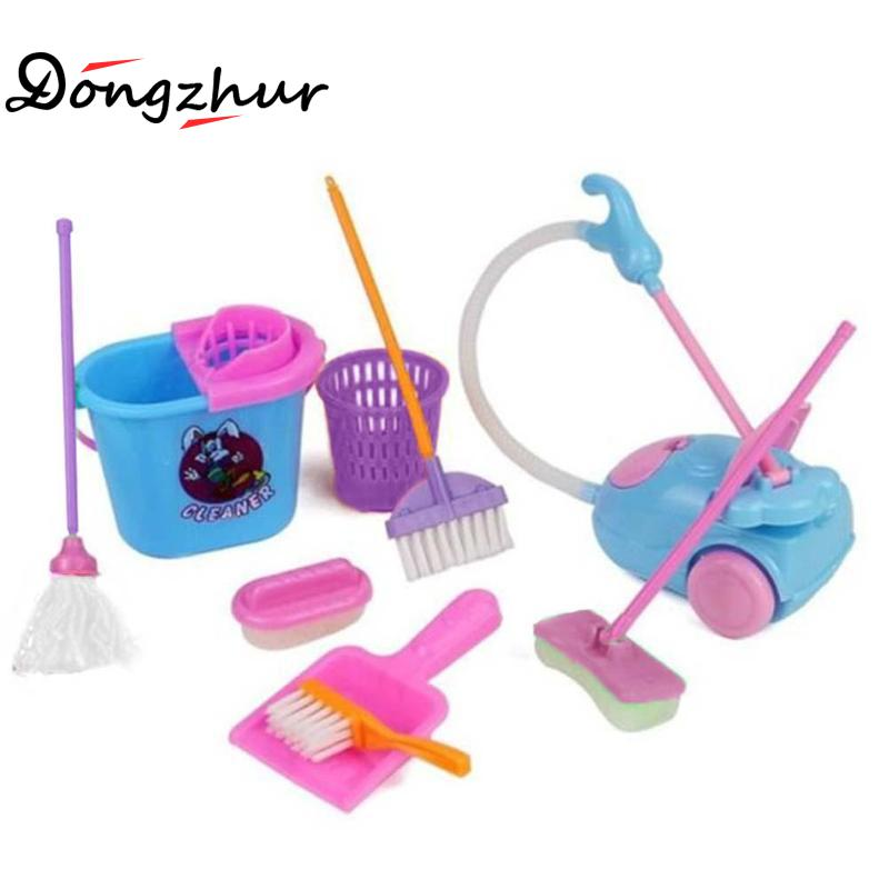 9pcs/set Creative Simulation Cleaning Toys Children Pretend Play Toy House Cleaning Set Mini Mop Trash Bins Tools GJJHO31A