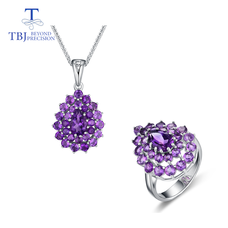 TBJ,Water Drop gemstone Jewelry set pendant and Ring with natural africa amethyst gemstone for women in 925 silver with gift box