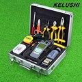 KELUSHI 29 EN 1 Kit de Herramienta de Fibra Óptica FTTH FC-6S Cleaver Medidor de Potencia Óptica 10 mW Visual Fault Locator Tester Alcohol botellas