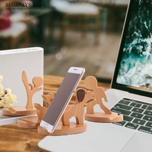 1pcs Wood Crafts Solid wood desktop bedside gift Personal Tailor Customized mobile phone bracket Beech deer sloth