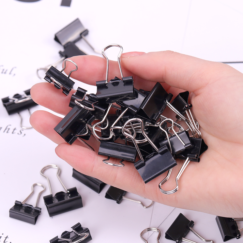 12PCS Metal Binder Clips Black Paper Clip 19/15MM Office School Supplies Binding Securing Clip Office Stationery