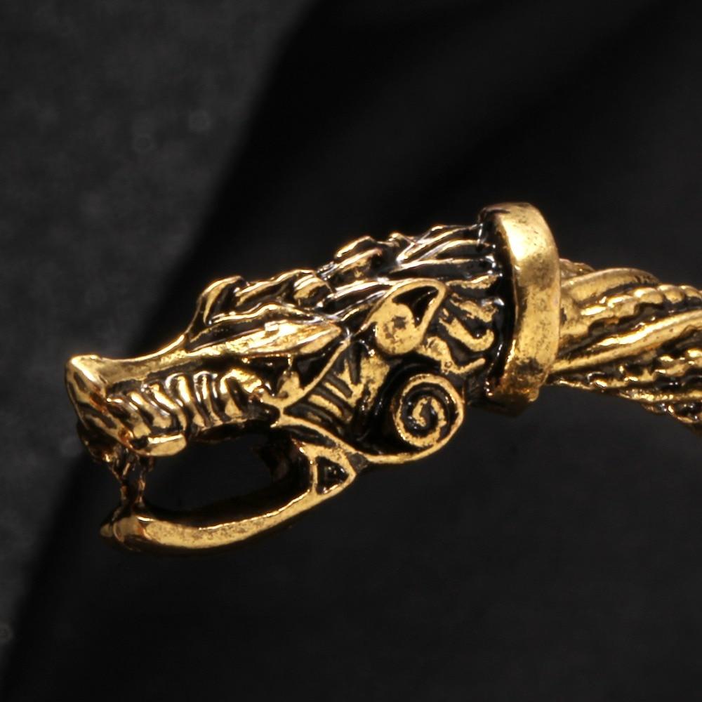 Vintage Viking Wolf Head Cuff Bracelet 1