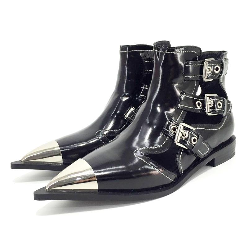 Classic enkel gesp echt leer motorfiets enkellaars voor vrouwen merk schoenen vrouwelijke lente zomer laarzen sandalen schoenen vrouwen-in Enkellaars van Schoenen op  Groep 2