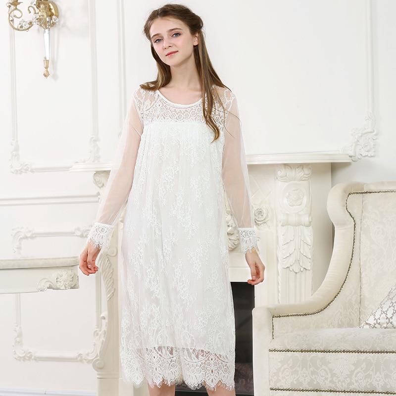 3b4175477 Woman Sleepwear Women Sexy Negligee Nightgown Bow Vintage Nightgown Long  Nightdress Ladies Sleepwear Dress Solid Color YC127-in Nightgowns &  Sleepshirts ...