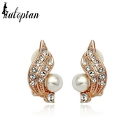Iutopian Fashion Jewelry Lovely Wing Simulated Pearl Stud Earrings Brinco for Women With AAA Level Zirconia Top Quality