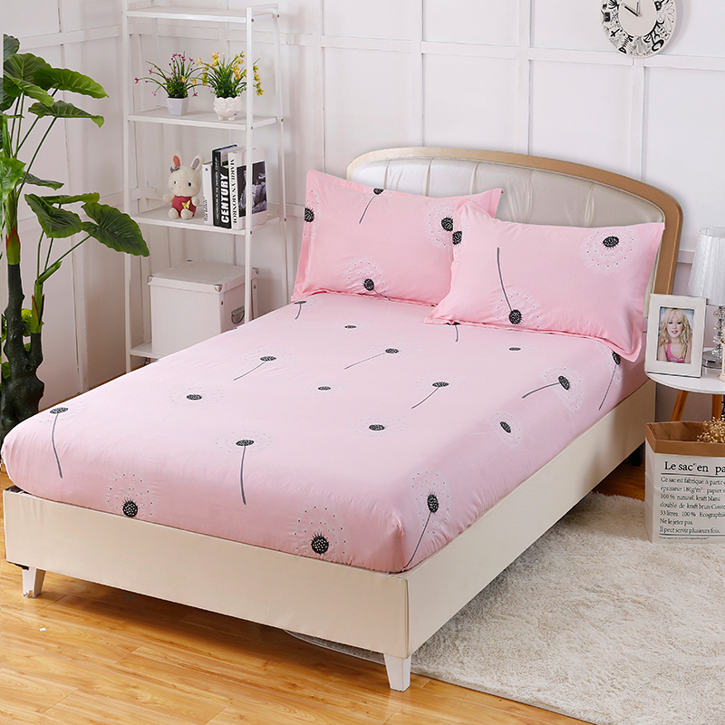 Elegant And Beautiful Pink Dandelion Printing Pattern Bedding Three-Piece Fitted Sheet+ Pillowcase Comfortable Soft And Healthy
