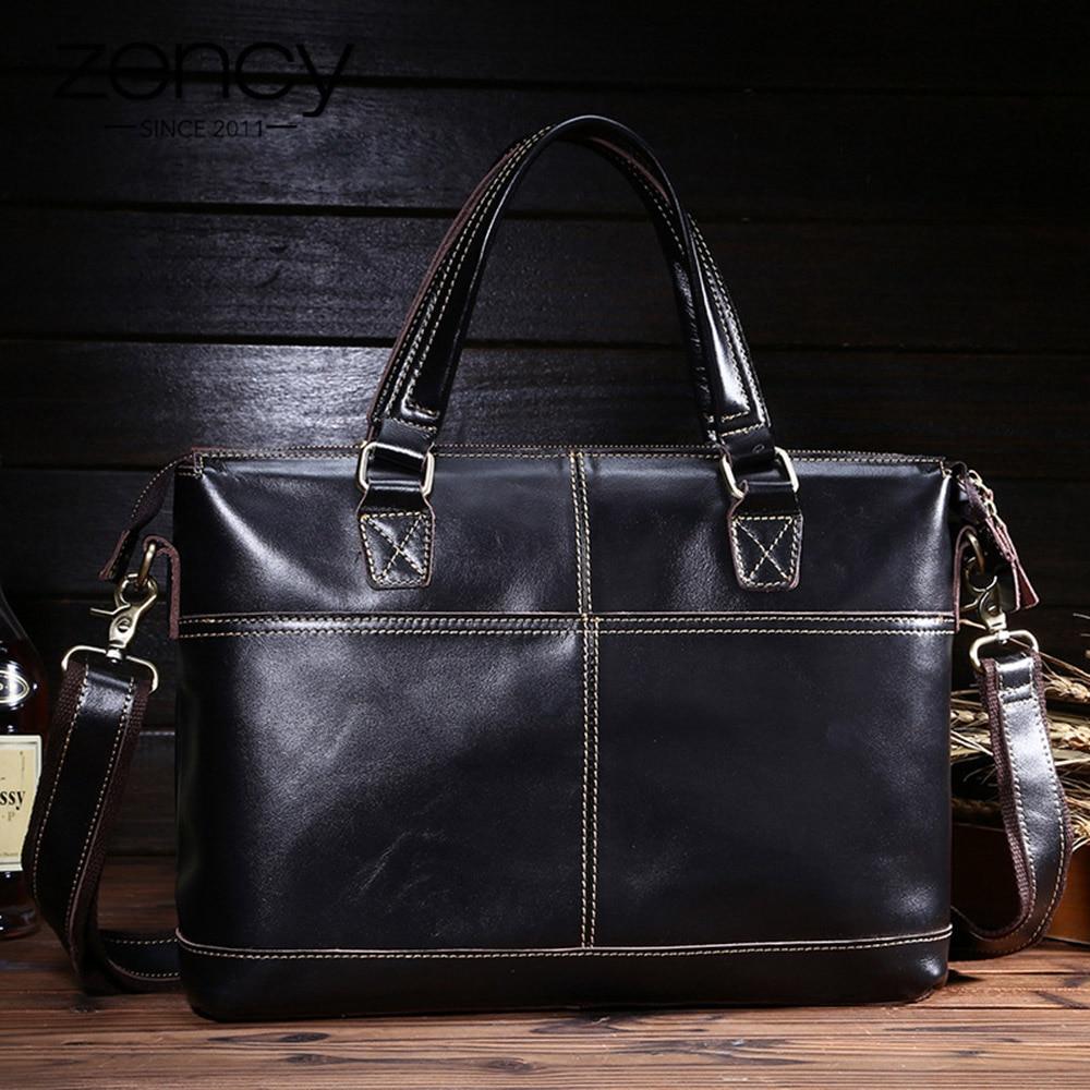 Large Capacity Men Bag 100% Genuine Leather Vintage Male Briefcase Handbag With Long Shoulder Strap Business Tote Messenger