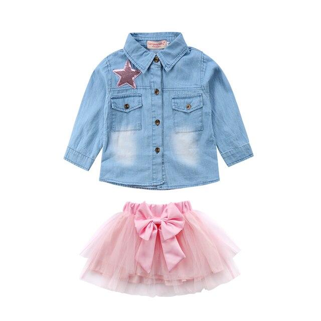 2 unids piezas Niño niños bebé niña dulce 2018 Denim Top camisa azul +  falda tutú a14847ad28f