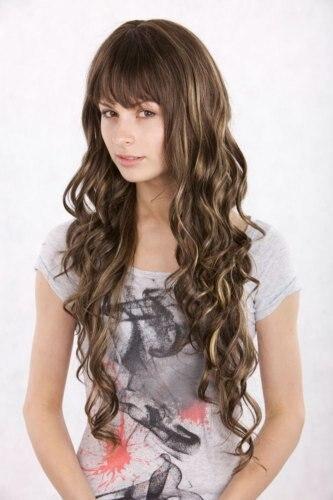 fashion New bang NATURAL brunette Wig 5b74074de