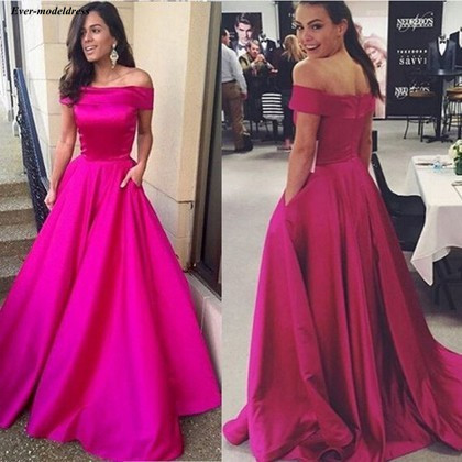 Simple   Bridesmaid     Dresses   2019 Off Shoulder Pockets A Line Long Formal Wedding Guest Party Gowns Maid Of Honor Custom Made Cheap