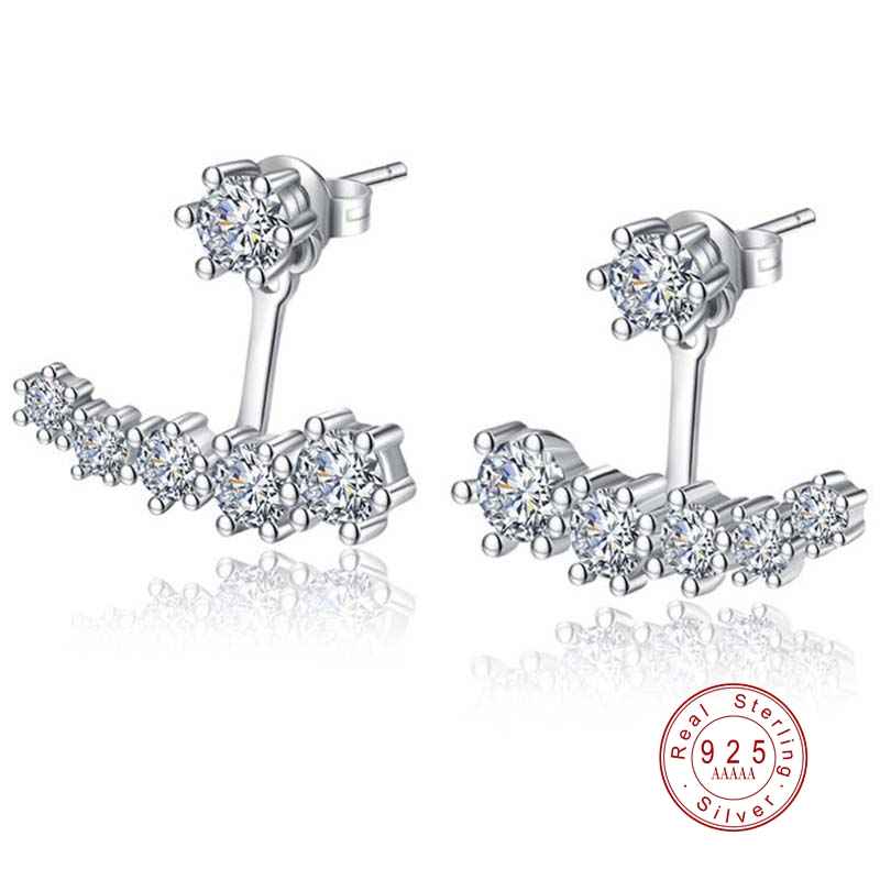 Luxury 925 Sterling Silver Earrings Crystal Six Claw Zirconia Stud Earrings Double Side For Women Bridal Wedding Party Jewelry