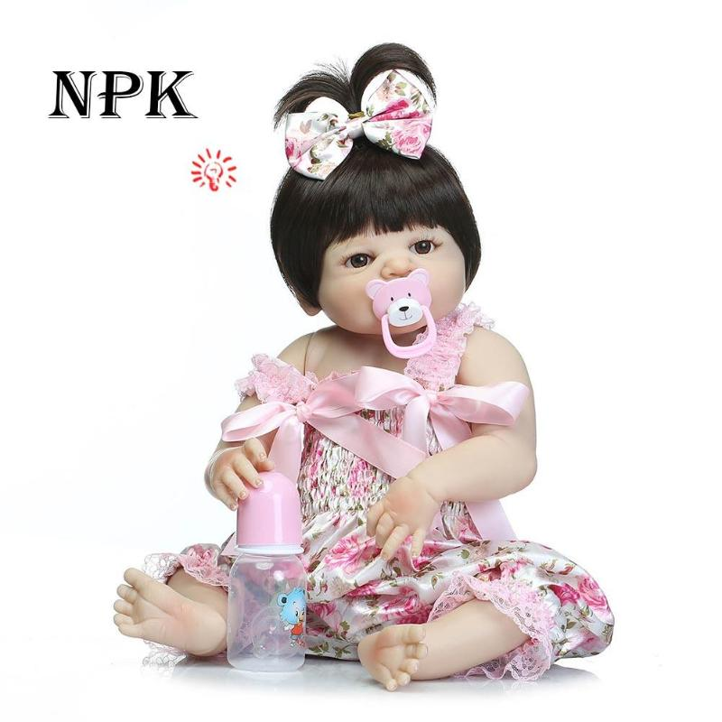 50cm Full Body Silicone Reborn Girl Baby Doll Toys Lifelike Baby-Reborn Doll Child Birthday Christmas bebe Gift bebe 55cm full body silicone reborn baby girl doll toys lifelike baby reborn doll kids child birthday gift bonecas reborn