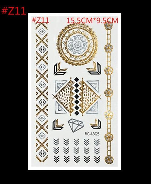 Flash Gold Metallic Henna Fake Bodystocking Tatoo Temporary Stickers Arabic Golds Glitter Large Temporary Tattoos Product Choice