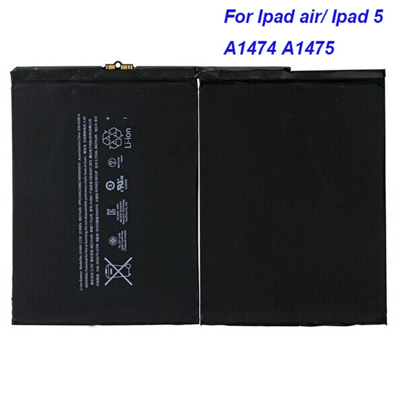 Genuine 8827mAh Internal Replacement battery A1474 1475 A1484 for ipad 5 ipad Air tablet 1484 A1474 1475 repair parts batteria