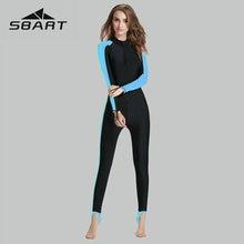 Sbart Wetsuit Full Body Women Sport One Piece Swimsuit Blue Splice Snorkeling Suit Long Sleeve Swim Wear Deep Zipper 2019