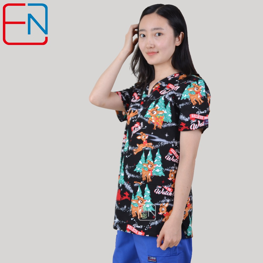 Hennar Scrubs Tops For Women Medical Uniforms Surgical Scrub Uniform 100% Cotton Cartoon Print Medical Surgical Nursing Clothing