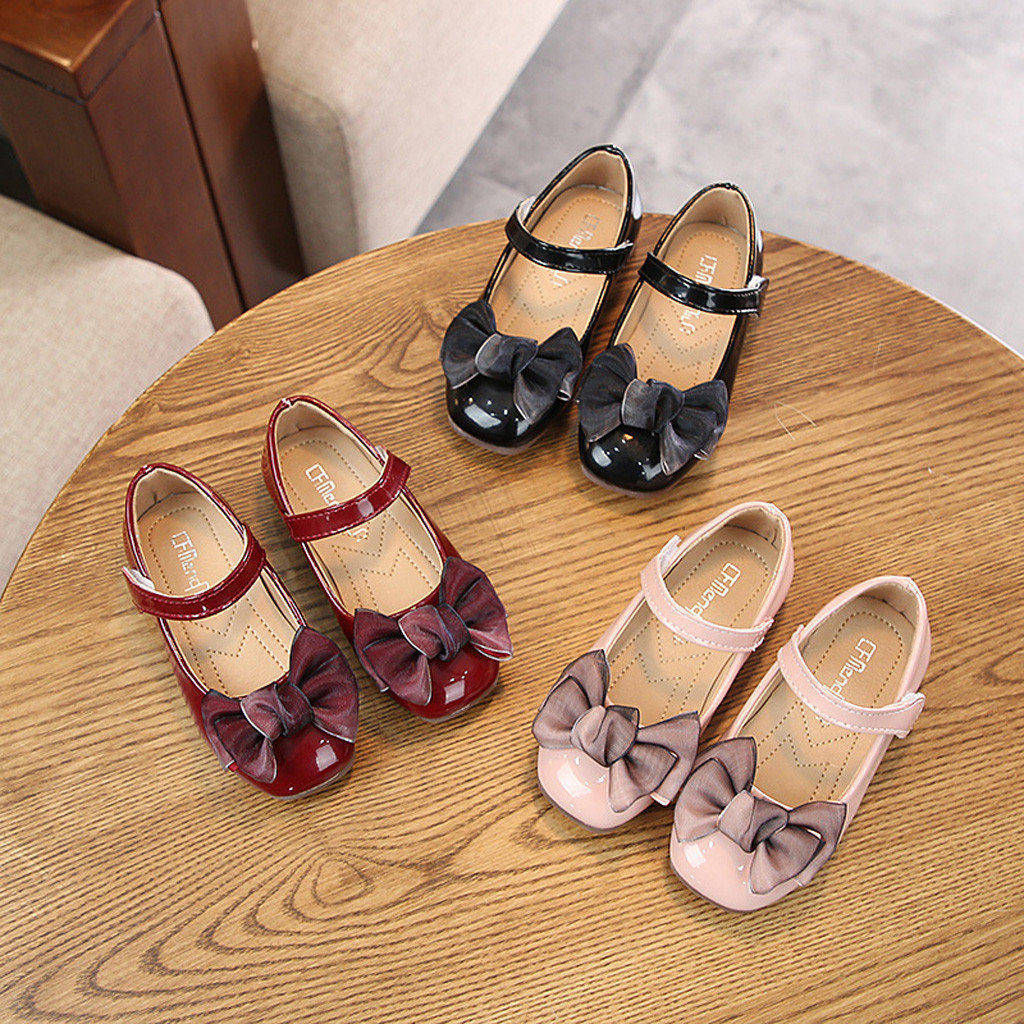 Girls Leather Shoes For Kids Princess Sandals Dress School Fashion Bow Summer Children Black Flat Rubber Damping Shoes Wedding