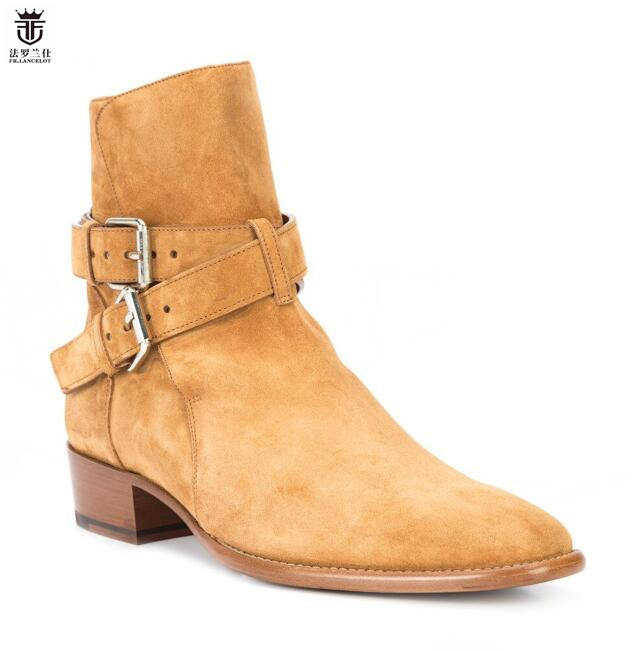 Newest Hot Men Boots Chelsea Boots Low Square Heel Real Leather Suede Double Buckles Strappy  Shoes Mens Men Size 38-46
