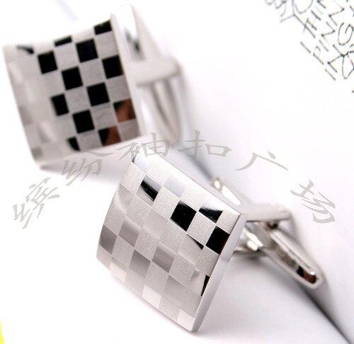 Free Shipping Cufflinks Retail Big , Quality Silver Square Plaid Mirror , Style Cufflinks French Shirt Sleeve