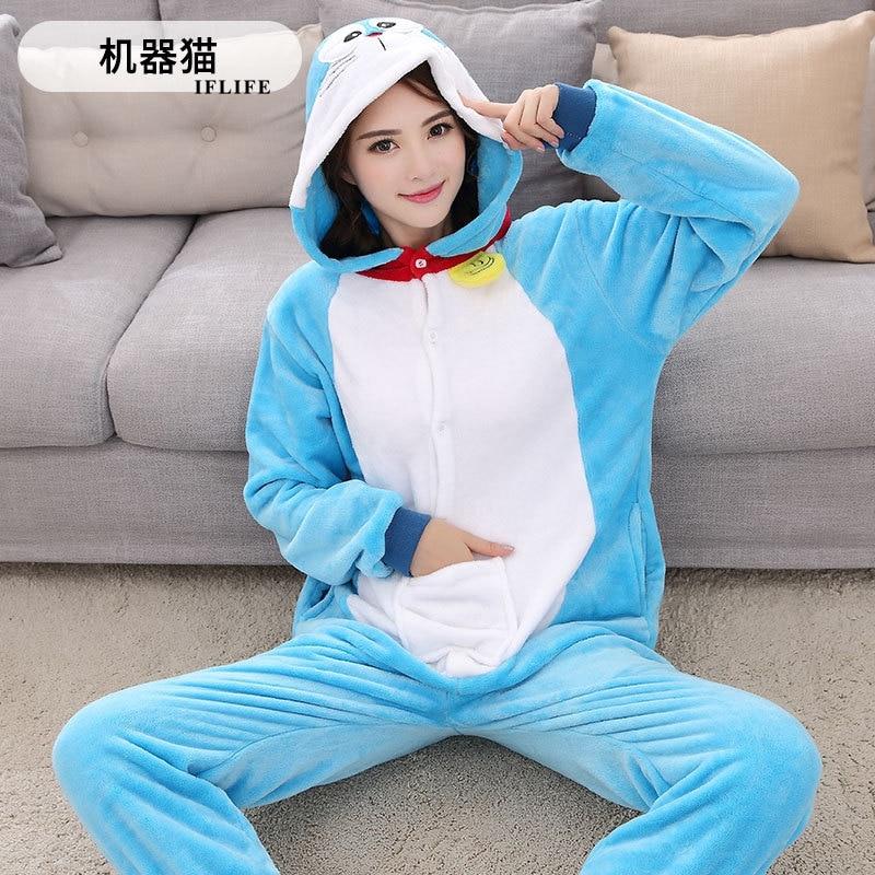 Blue Doraemon Animal Cosplay Costume Onesie Hoodie For Adult Women Men Halloween Holiday Party Flannel Full Length