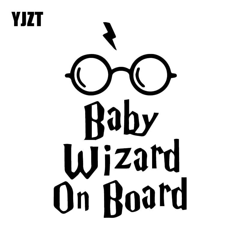 YJZT 11.2X16.5CM Baby Wizard On Board Body Window Car Sticker Funny Vinyl Decal Accessories C25-0028