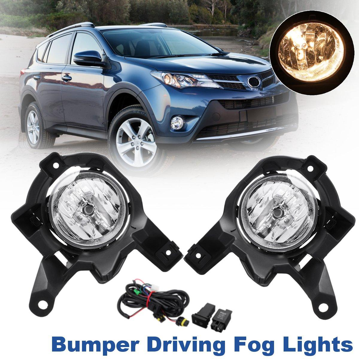 Front Left Right Pair DC 12V 55W H11 Amber Clear Bumper Driving Fog Lights w/ Wiring Harness For Toyota RAV4 2013 2014 2015