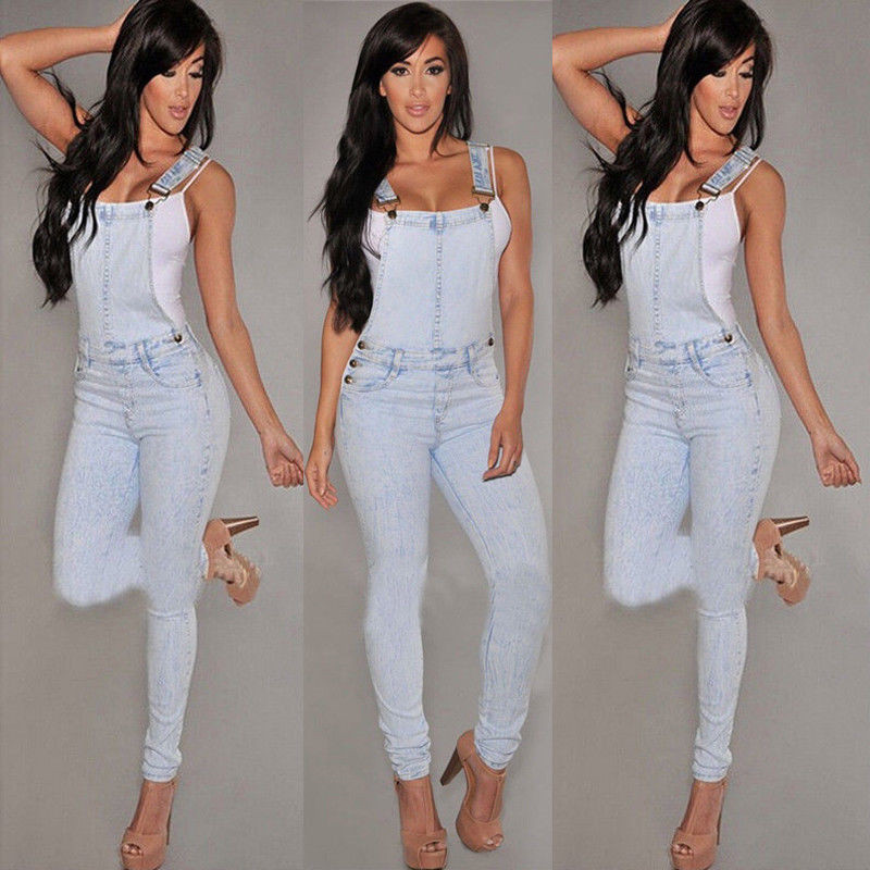 2018 Womens Fahsion Bib Jeans Jumpsuits Casual Lady Vintage Sleeveless Casual Loose Solid Overalls Strapless Paysuit Denim Pant