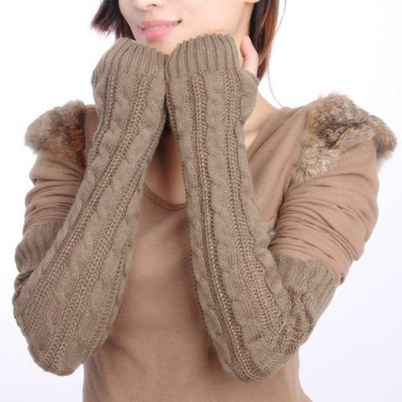 NIBESSER Winter Women Wool Arm Warmers Women Gloves Knit Warm Long Fingerless Gloves Fashion Female Half Finger Gloves