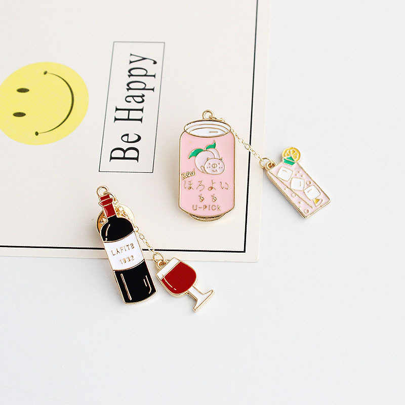 Funny Wine Bottle Brooches Enamel Pin for Boys Girls Lapel Pin Hat/bag Pins  Denim Jacket Shirt Women Brooch Badge Q934