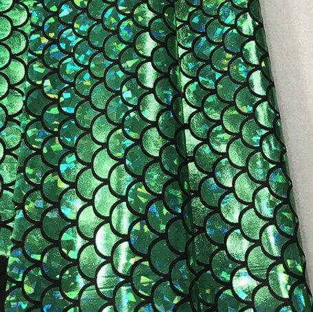 Зеленая блестящая ткань русалки 150*50 см, голограмма, спандекс, двусторонняя эластичная ткань для юбки, хвост, купальный костюм для сцены, Кос...