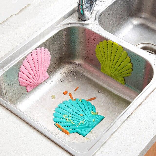 2pcs! Silicone Shell sink sinker Anti-clogging bath shower hair filter colander Sewer Drain toilet lavamanos mesh Insulation Pad