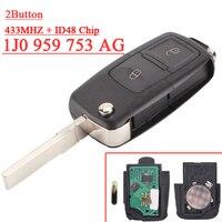 Frete Grátis (1 pcs) 1J0 959 753 AG 1J0959753AG Keyless Entry Remoto Chave Dobrável Para VW 2B 433 MHZ ID48 Chip|entry| |  -