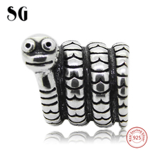 Silver Galaxy 925 Sterling Silver Cute Animal Snake Beads Fit Authentic pandora Charms Bracelet For Women Fashion Jewelry Gifts sg 925 sterling silver cute cock charms beads animal collection fit original pandora bracelet pendant fashion jewelry for gifts