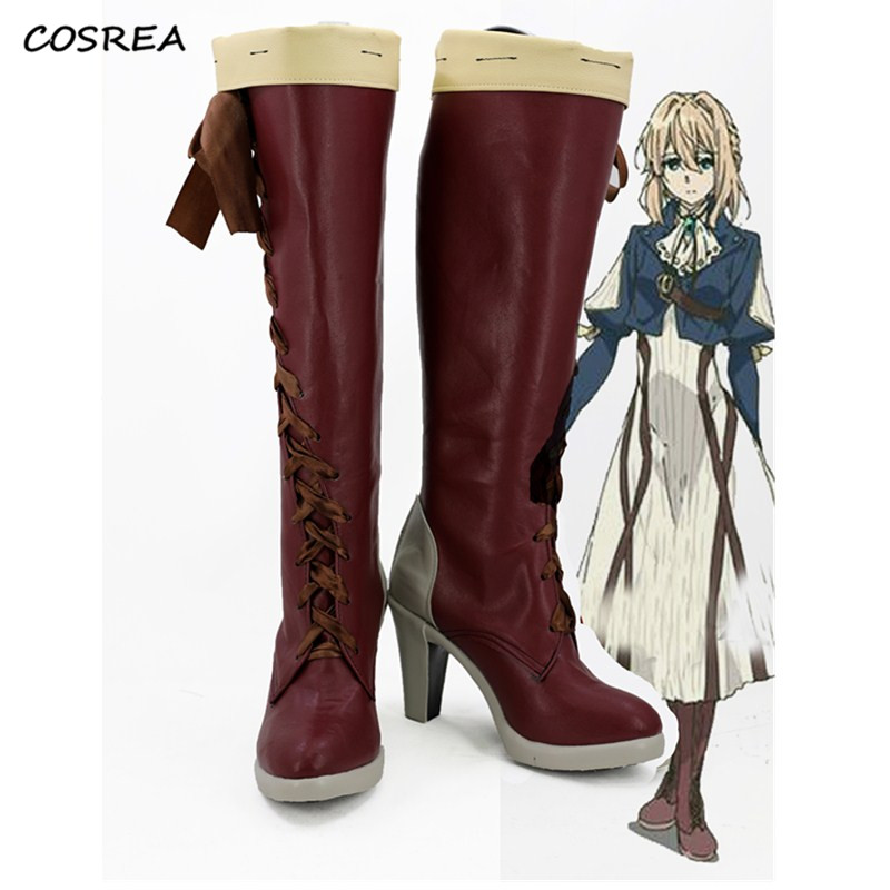 Japanese Anime Violet Evergarden Shoes Cosplay Costumes Adult Women Halloween Party  Accessories Props Red Boots Custom-made
