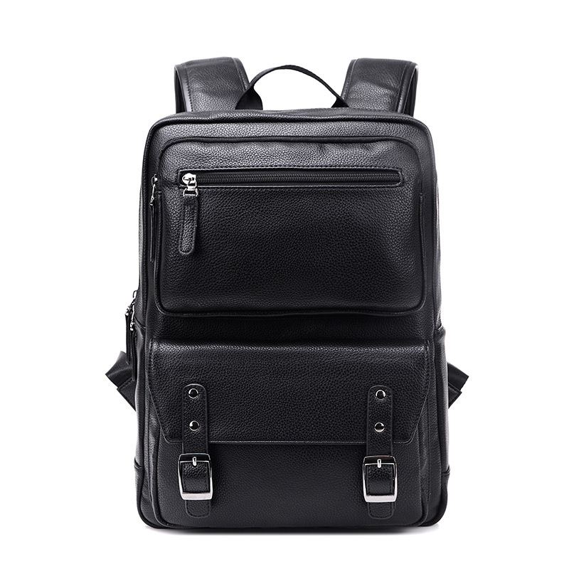 Fashion Men's Black Backpack Leather Bag Zipper Travel Backpack Laptop New Brands High Quality Male Students Backpacks