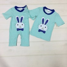 Baby Clothes Cotton Set Boy Striped Romper Newborn Easter Bunny Pattern Clothes Costume Appliques