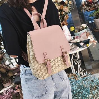 New Female Straw Backpacks Summer Beach Bags Teeanger Girls Wicker Rattan Backpack Rucksack Ladies Laptop Bag Plecak W610