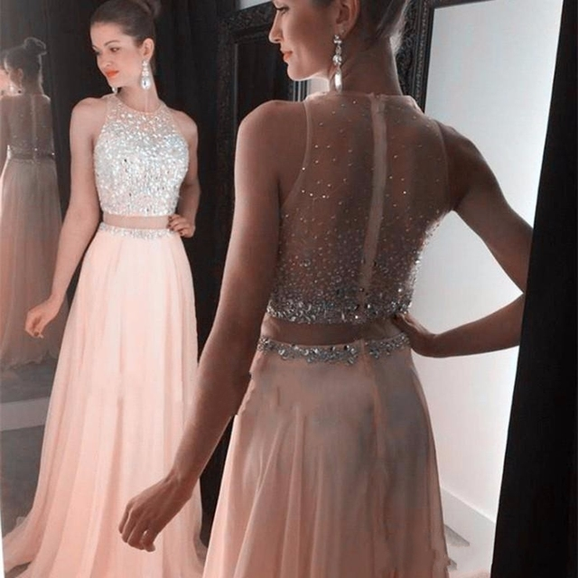 9fa196bcb4c 2017 New Custom Made Blush Pink Crop Top Dress Prom Gown Two Piece Silver  Crystal Sheer