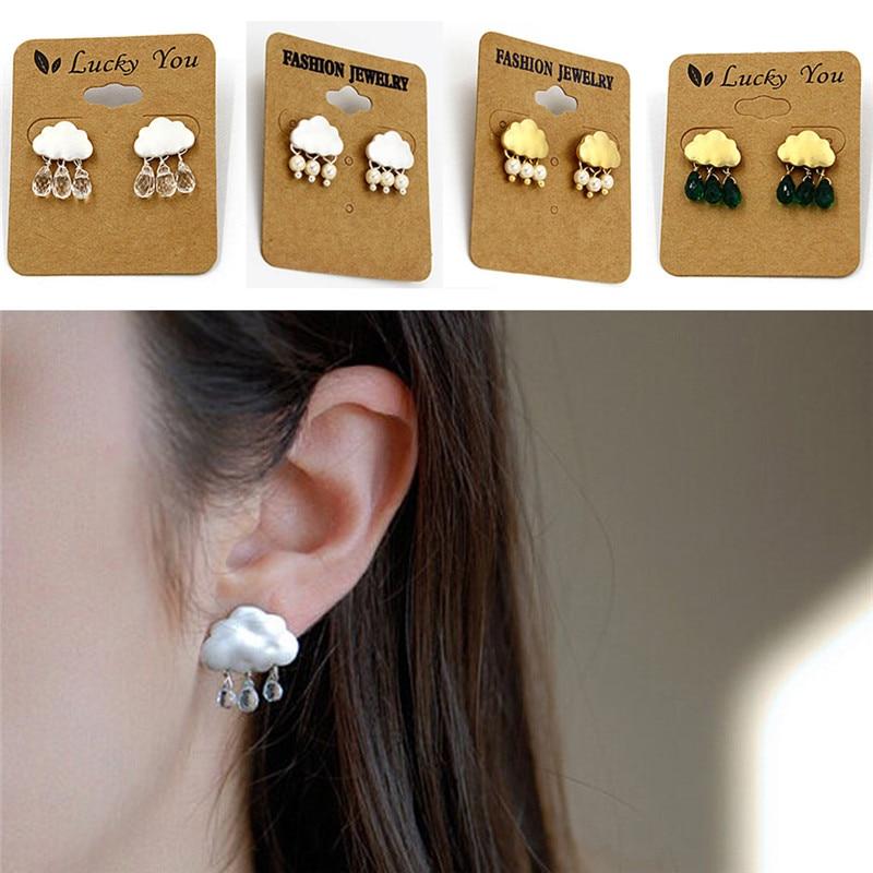 1pair Ear Jewelry Stud Earring New Fashion Cute Cloud Crystal Rhinestone Imitation Pearl Rain Cloud Earring Personality Design