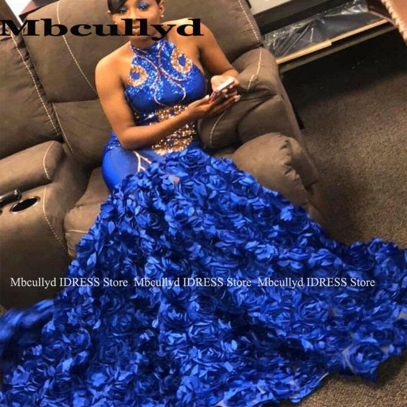 Royal Blue sirène 3D Rose fleurs robe de bal pour les filles noires élégant or pailleté africain formel robe de soirée grande taille vente