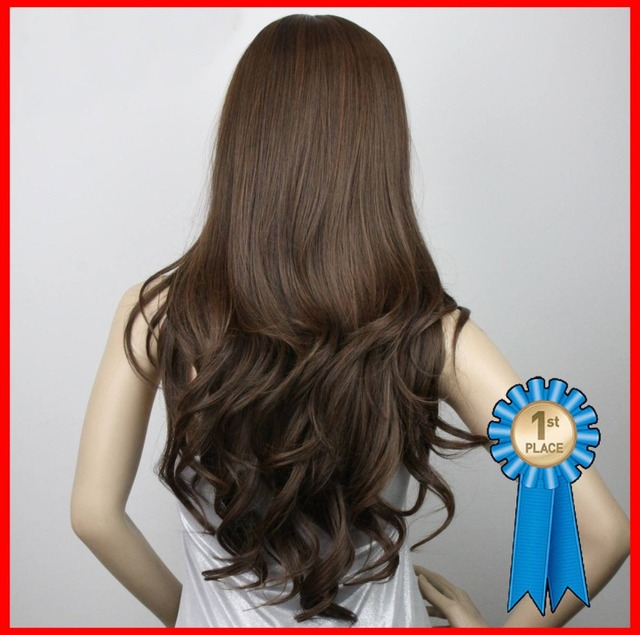 Silky wavy,24inches 180g Indian Remy Blended wigs #4t33 Dark brown,Blended hair full  wigs,free shipping