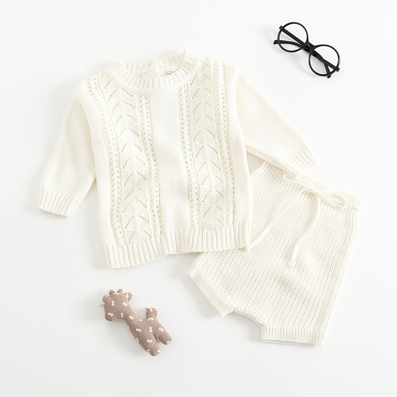 2018 New Baby Girls Boys Set 2 Pieces Pullover+ Shorts Knitted Wool Clothes Suit Hollow Out Newborn Toddler Longsleeve Clothes
