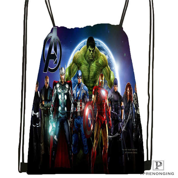 Custom Spiderman Avengers  Drawstring Backpack Bag Cute Daypack Kids Satchel (Black Back) 31x40cm#180611-01-27