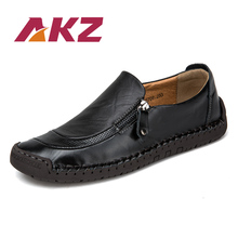AKZ Men Loafers Mens Casual shoes 2018 Spring Autumn cow Split leather Breathable Comfortable Light Male Flats shoes size 38-48 new men genuine leather party dress shoes breathable fashion wedding casual male flats cow leather split loafers soft black
