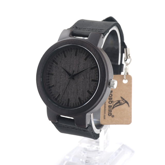 BOBO BIRD C27 Men's Ebony Wood Watches Timepiece Genuine Leather Quartz Watch for Mens Wrist Watch