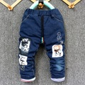 2016 new winter arrival  kid thick jeans pant baby boy and girl warm denim trousers Men with hat design1-4 years