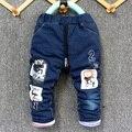 2016 nueva llegada del invierno niño gruesa jeans pantalón bebé niño y niña caliente pantalones de mezclilla de Los Hombres con sombrero design1-4 años